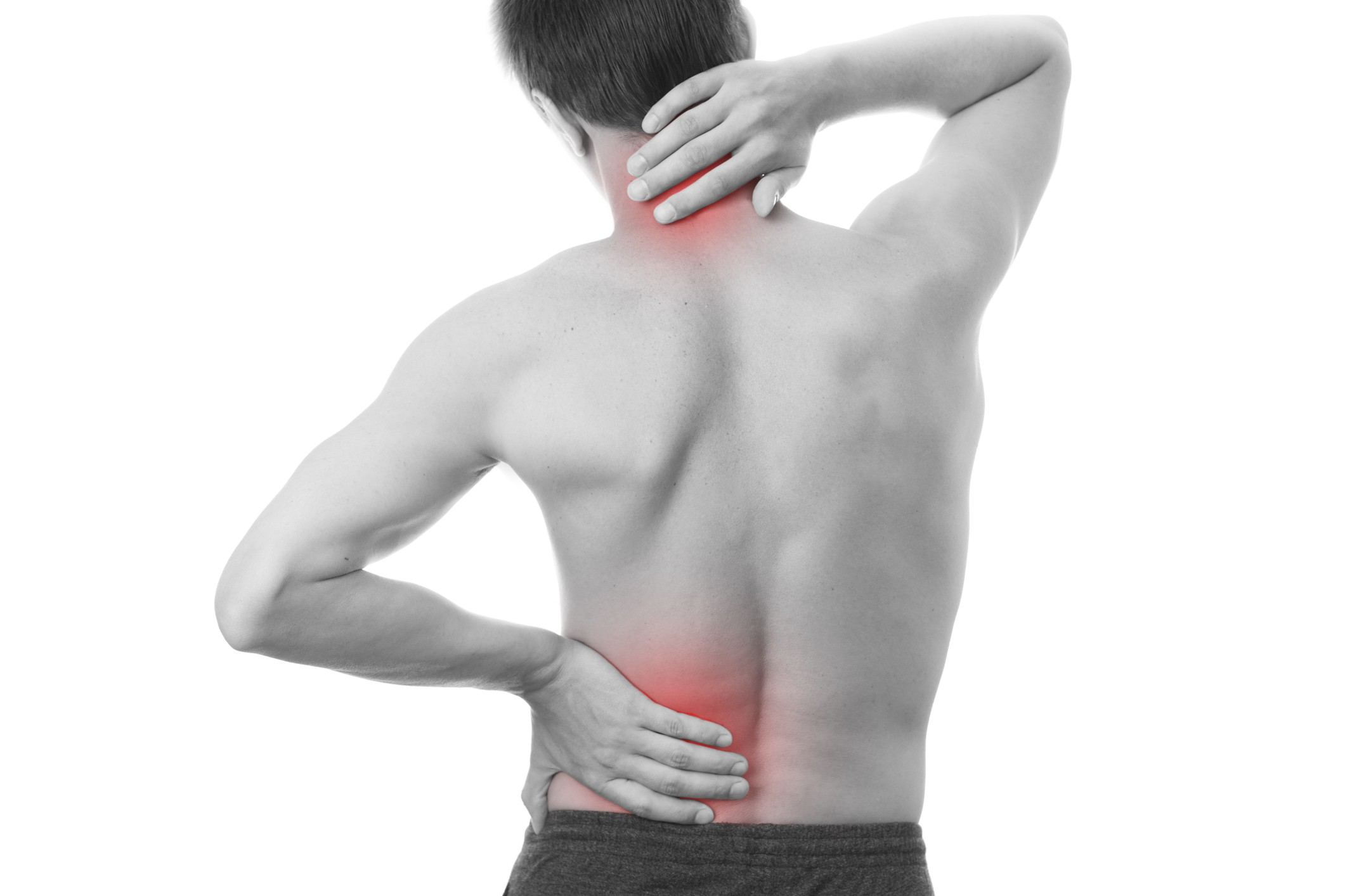 Man touching back pain