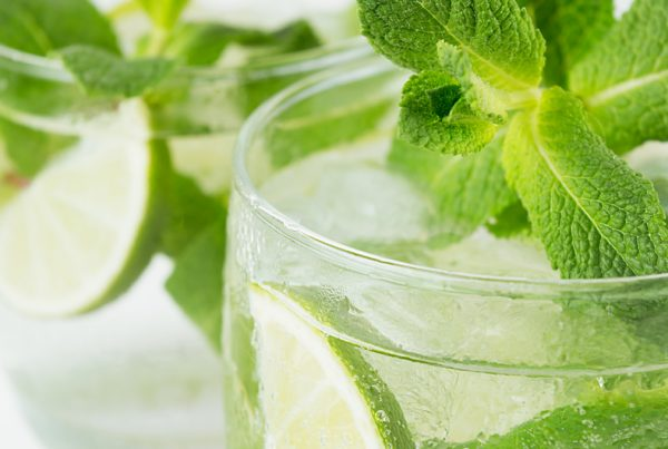 This is a photo of a mint and lime mocktail