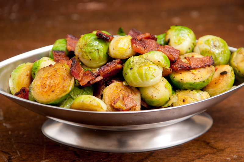 Sautéed Brussel Sprouts with Bacon and Cranberries