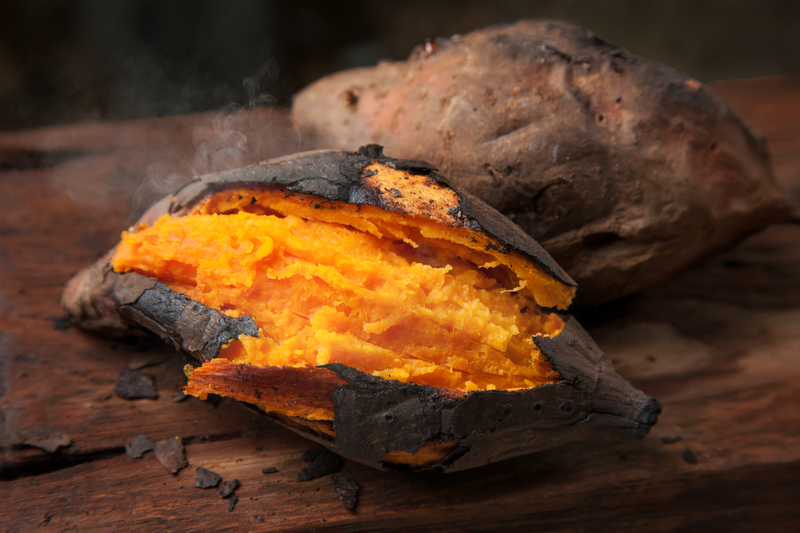 Roasted Sweet Potatoes with Maple Butter - Dinner at the Zoo   Plain Baked Sweet Potato